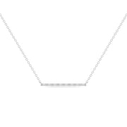 14K Solid White Gold All Baguette Diamond Tension Bar Necklace