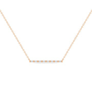 14K Solid Rose Gold All Baguette Diamond Tension Bar Necklace