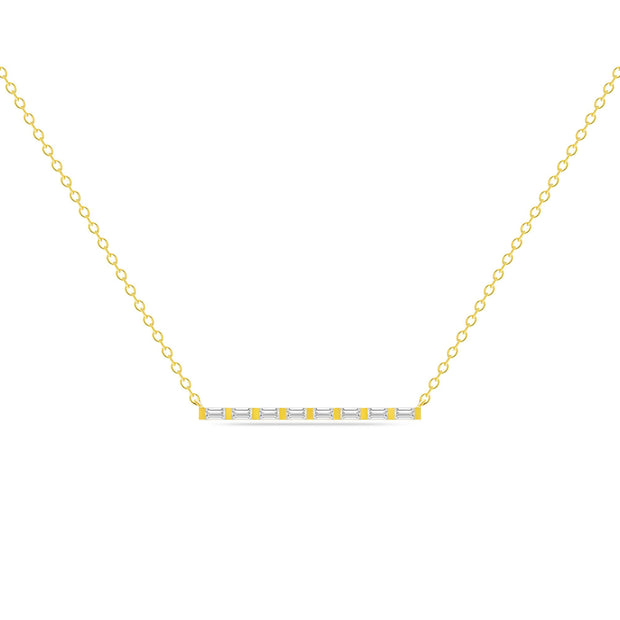 14K Solid Gold All Baguette Diamond Tension Bar Necklace