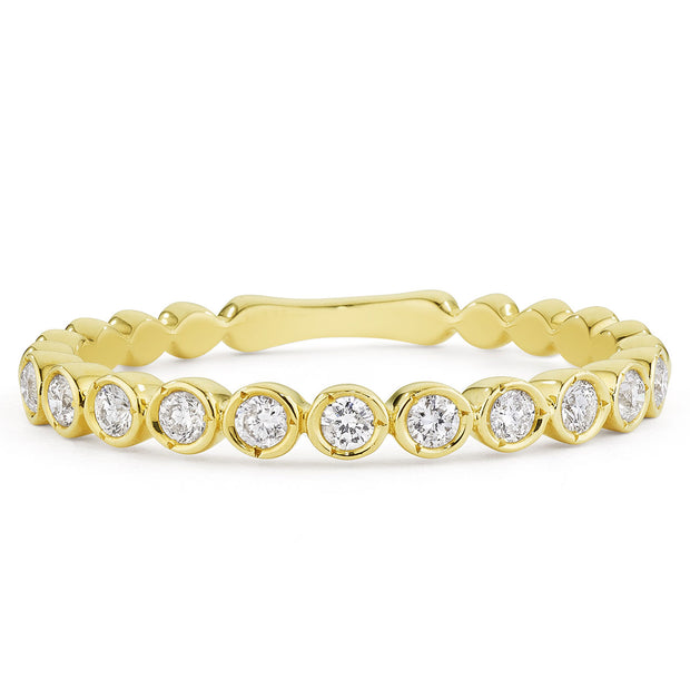 14K Solid Gold Feminine Diamond Bezel Half Eternity Band