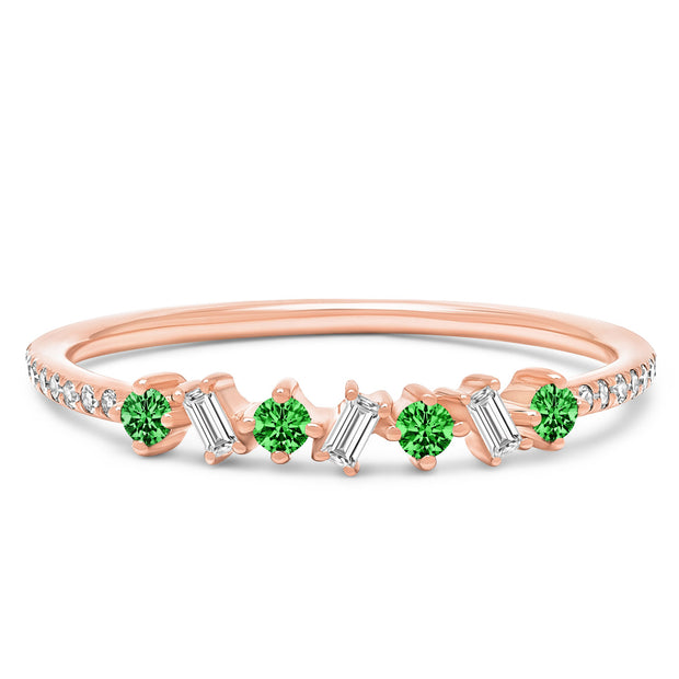 14K Solid Rose Gold Green Emerald Diamond Baguette Pave Band