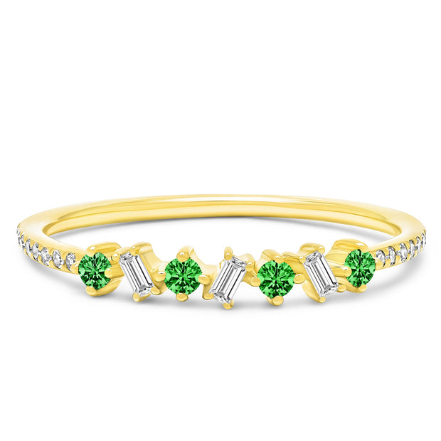 14K Solid Gold Green Emerald Diamond Baguette Pave Band
