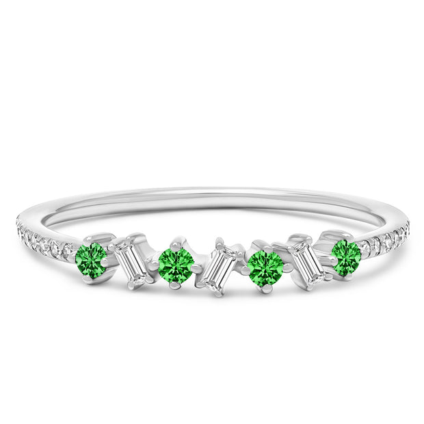 14K Solid White Gold Green Emerald Diamond Baguette Pave Band