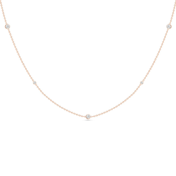 14K Solid Rose Gold Alternating Size Diamond By Yard Necklace