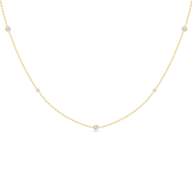 14K Solid Gold Alternating Size Diamond By Yard Necklace