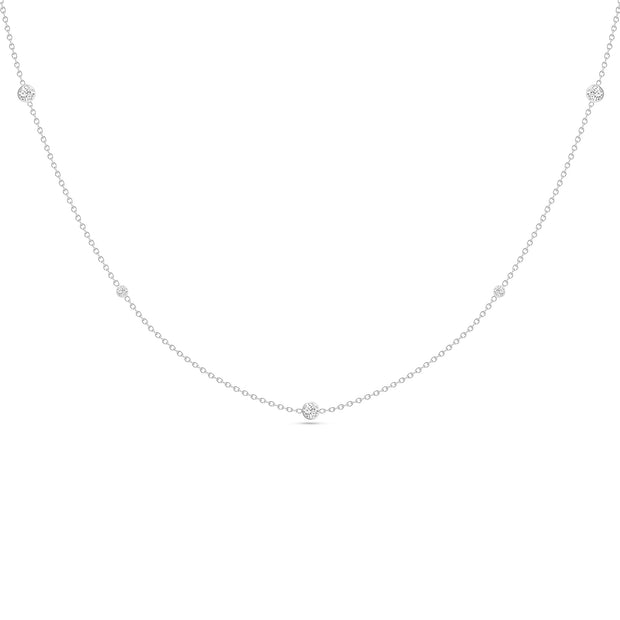 14K Solid White Gold Alternating Size Diamond By Yard Necklace