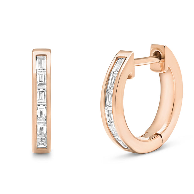 14K Solid Rose Gold Channel Baguette Diamond Studs