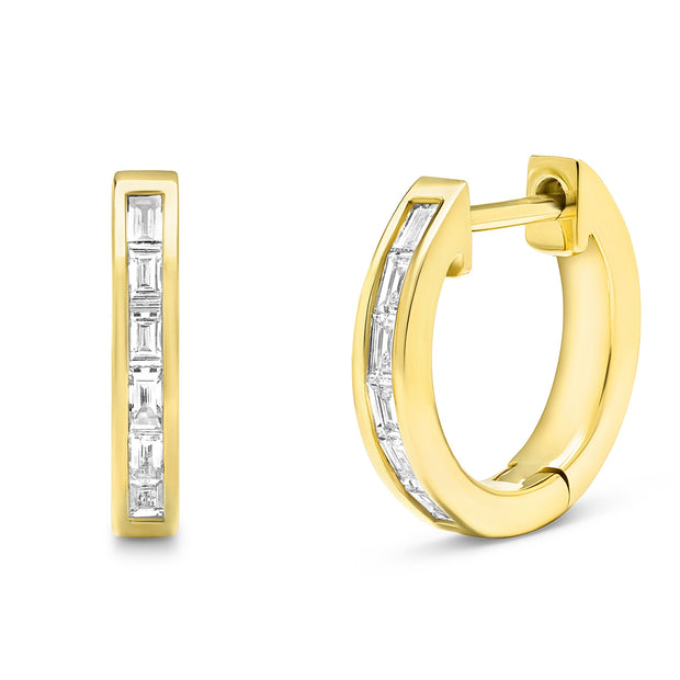 14K Solid Gold Channel Baguette Diamond Studs