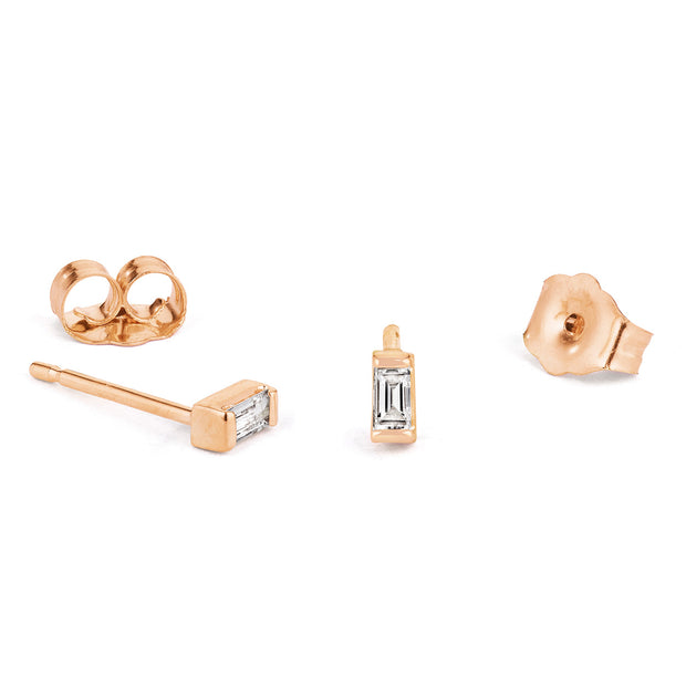 14K Solid Gold Baguette Diamond Studs Rose Gold