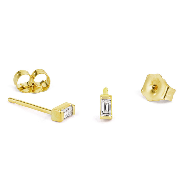 14K Solid Gold Baguette Diamond Studs