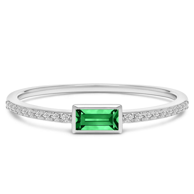 14K Solid White Gold Natural Emerald Bezel Baguette Pave Diamond Band
