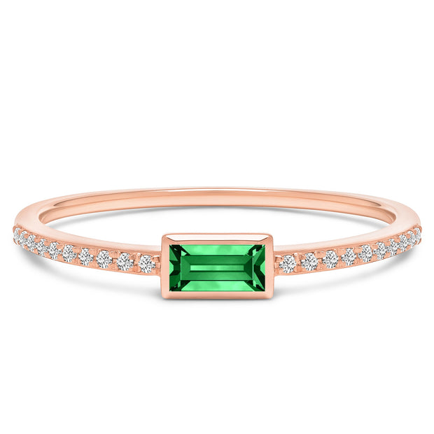 14K Solid Rose Gold Natural Emerald Bezel Baguette Pave Diamond Band