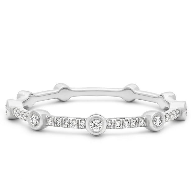 14K Solid White Gold Alternating Bezel Pave Half Eternity Band