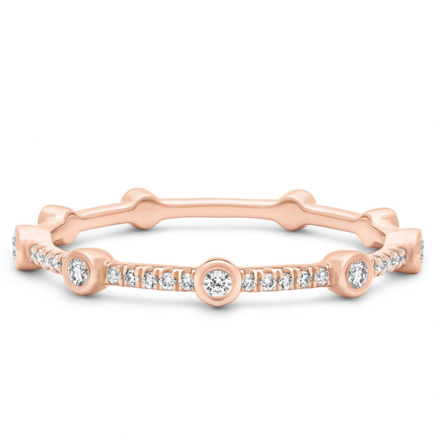 14K Solid Rose Gold Alternating Bezel Pave Half Eternity Band