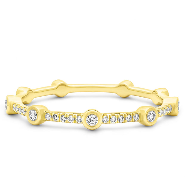 14K Solid Gold Alternating Bezel Pave Half Eternity Band