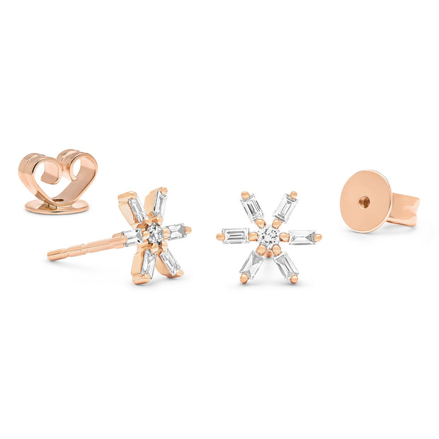14K Solid Gold Baguette Cluster Diamond Studs, Rose Gold