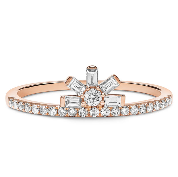 14K Solid Gold Baguette Crown Diamond Right Hand Ring Rose Gold