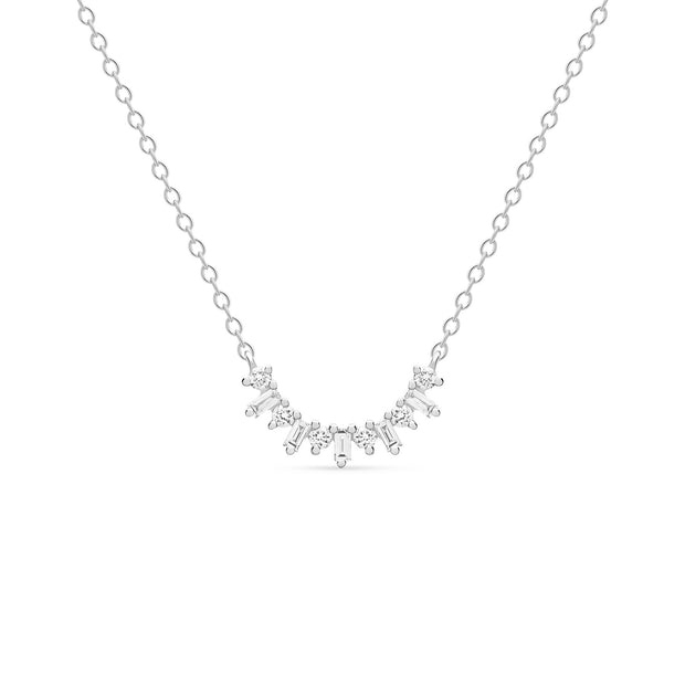 14K Solid Gold Baguette Circle Cluster Necklace, White Gold