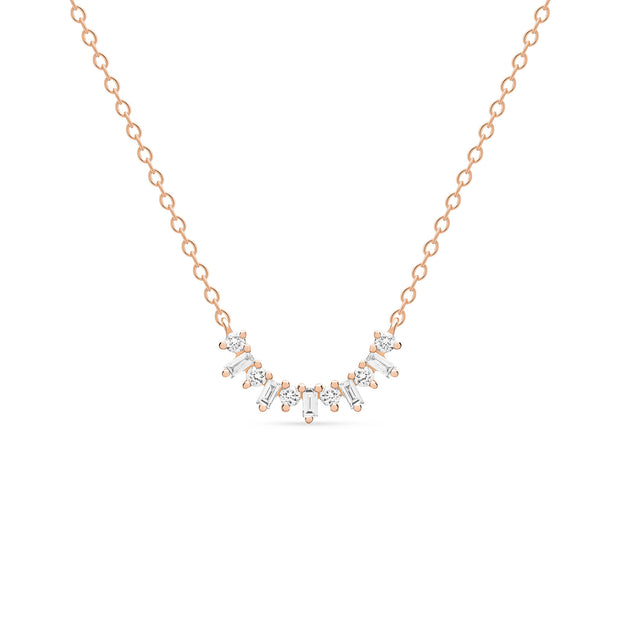 14K Solid Gold Baguette Circle Cluster Necklace, Rose Gold