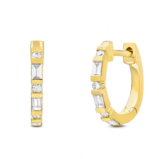 14K Solid Gold Baguette Round Diamond 1/2'' Hoop Earrings