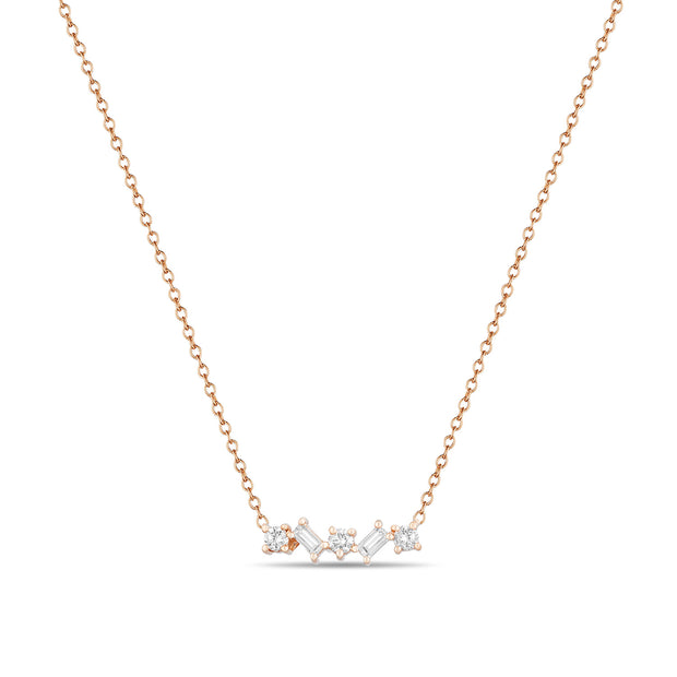 14K Solid Gold Round and Baguette Diamond Necklace Rose Gold