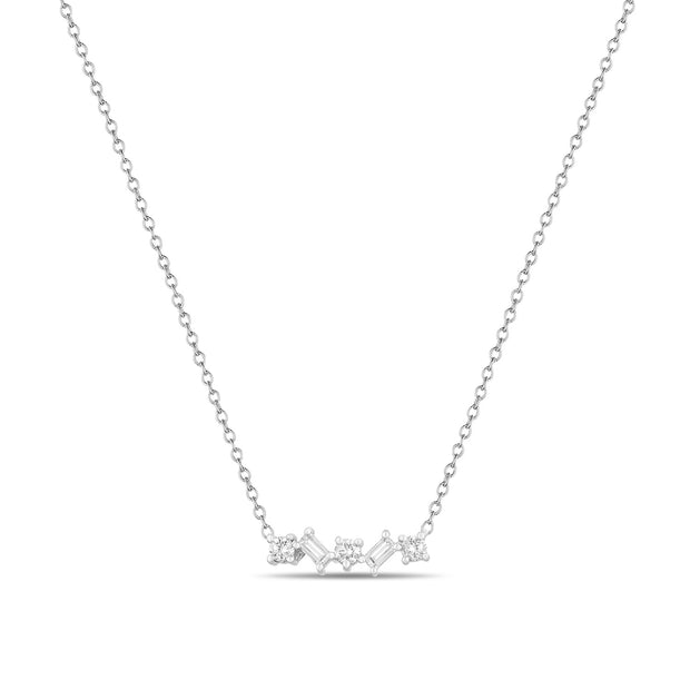 14K Solid Gold Round and Baguette Diamond Necklace White Gold