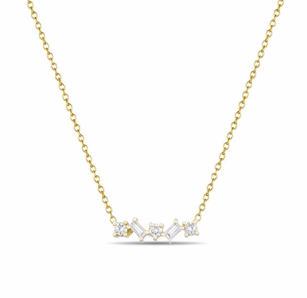 14K Solid Gold Round and Baguette Diamond Necklace