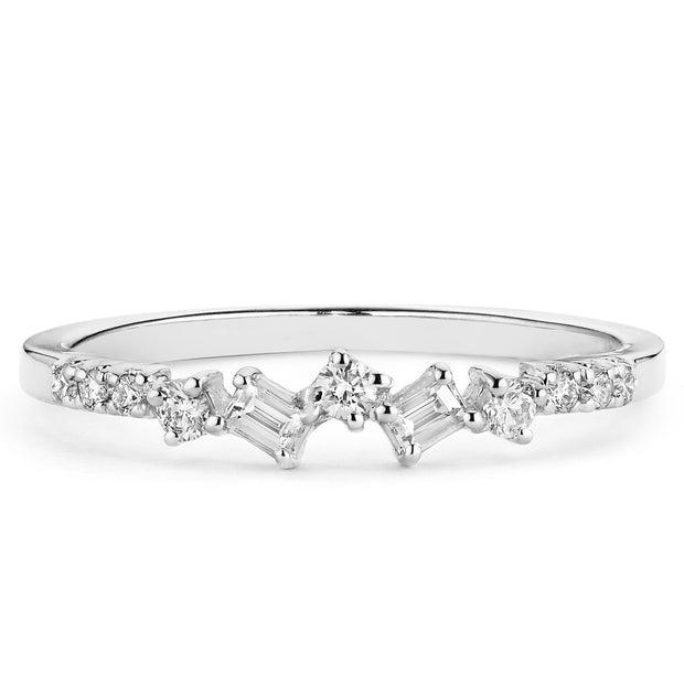 14K Solid Gold Baguette Round Diamond Cluster Anniversary Band Lifestyle Photo White Gold