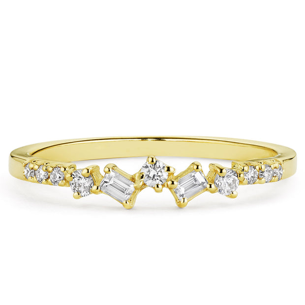 14K Solid Gold Baguette Round Diamond Cluster Anniversary Band
