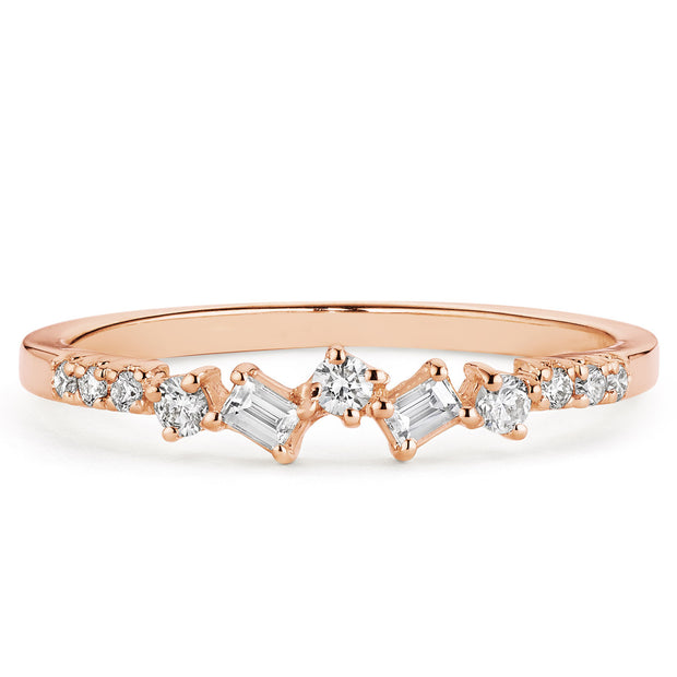 14K Solid Gold Baguette Round Diamond Cluster Anniversary Band Rose Gold