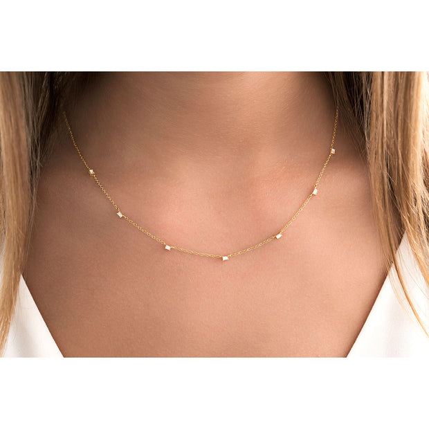 14K Solid Gold Baguette Diamond By The Yard Necklace Lifestyle 2