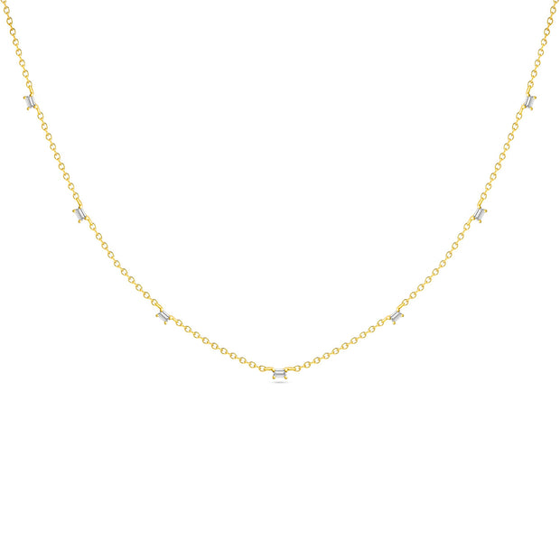 14K Solid Gold Baguette Diamond By The Yard Necklace