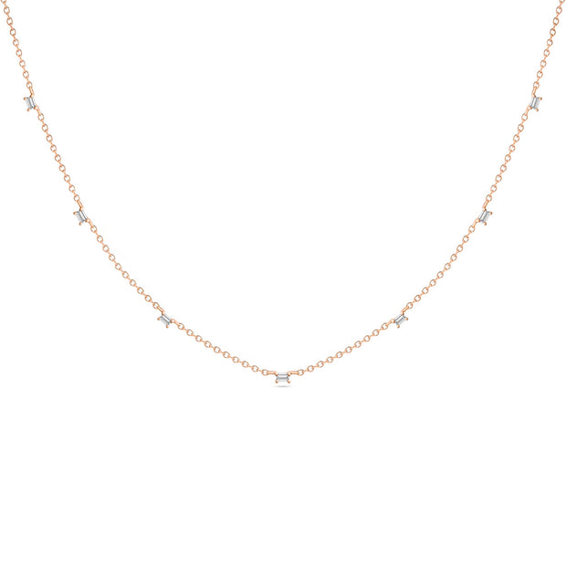 14K Solid Rose Gold Baguette Diamond By The Yard Necklace