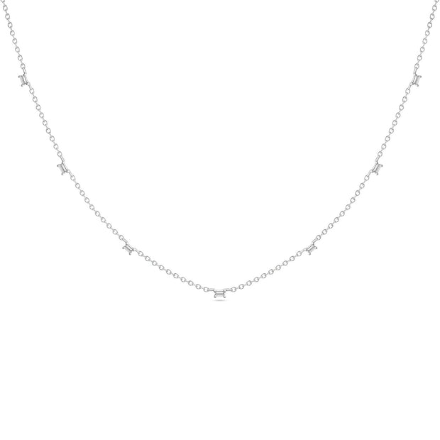 14K Solid White Gold Baguette Diamond By The Yard Necklace