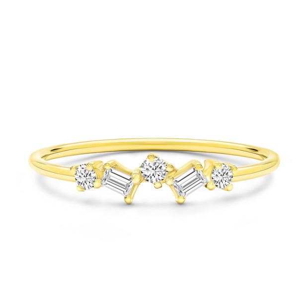 14K Solid Gold Baguette Round Alternating Diamond Five Stone Ring