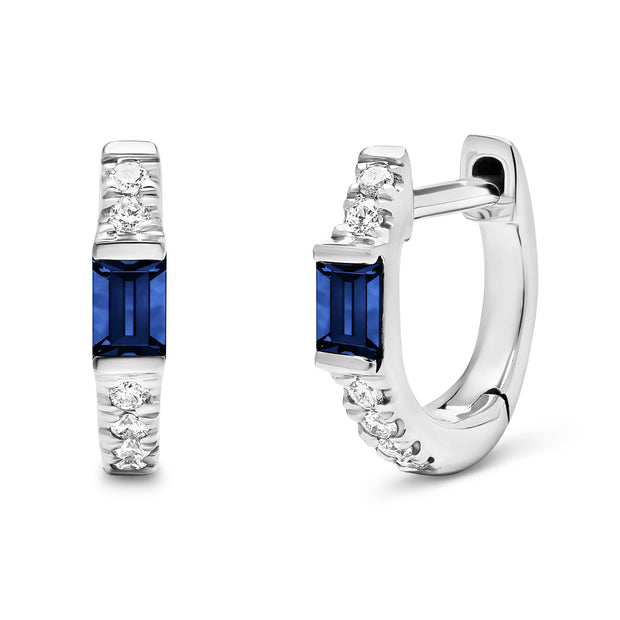 14K White Solid Gold Blue Sapphire Baguette Pave Diamond Hoops