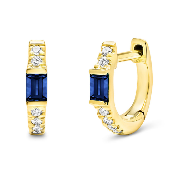14K Solid Gold Blue Sapphire Baguette Pave Diamond Hoops
