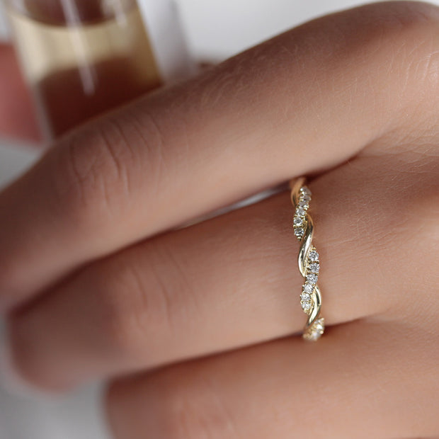 14K Solid Gold Pave Diamond Half Eternity Band Model 2