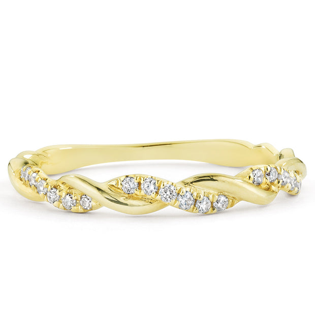 14K Solid Gold Pave Diamond Half Eternity Band