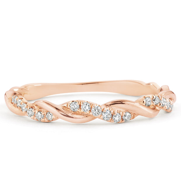 14K Solid Gold Pave Diamond Half Eternity Band Rose Gold