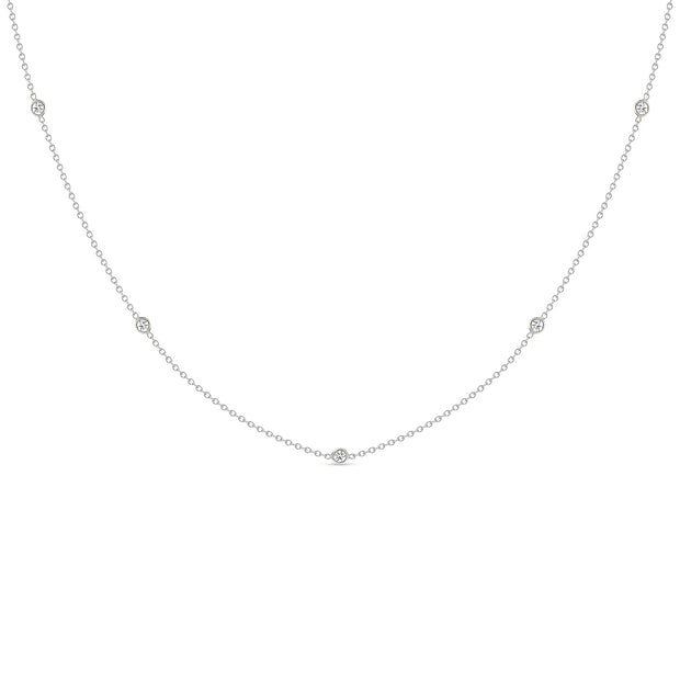 14K Solid Gold Diamond By The Yard Necklace White Gold