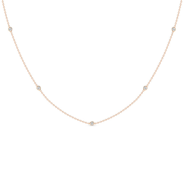 14K Solid Gold Diamond By The Yard Necklace Rose Gold