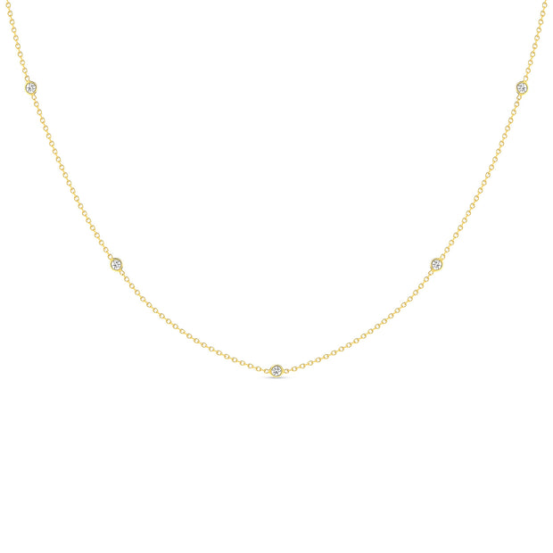 14K Solid Gold Diamond By The Yard Necklace