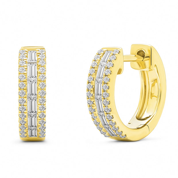 14K Solid Gold Baguette Diamond Channel Pave Hoops
