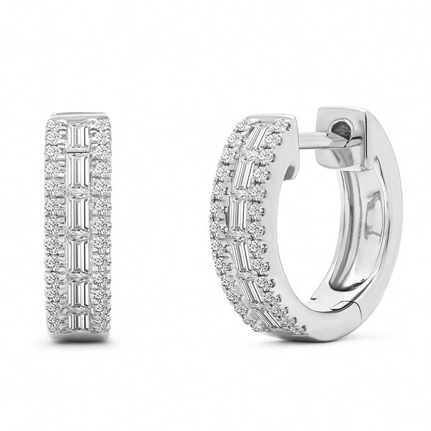 14K Solid White Gold Baguette Diamond Channel Pave Hoops
