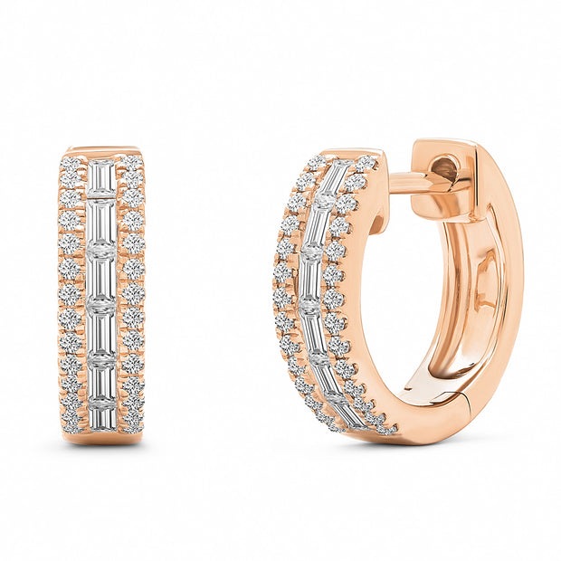14K Solid Rose Gold Baguette Diamond Channel Pave Hoops