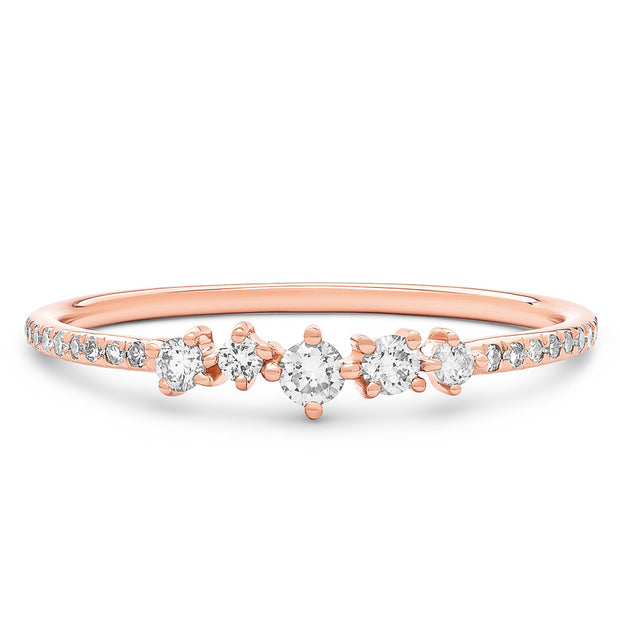 14K Solid Rose Gold Cluster Diamond Pave Band