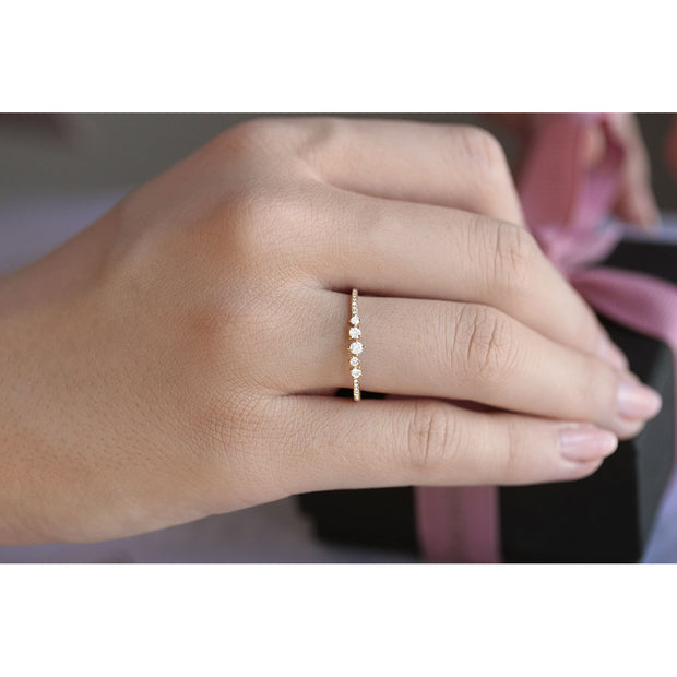 14K Solid Gold Cluster Diamond Pave Band Model Shoot 4