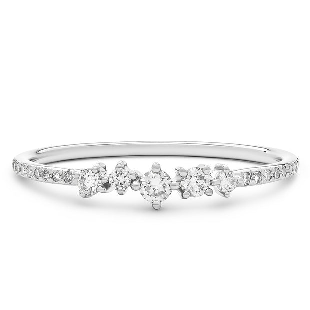14K Solid White Gold Cluster Diamond Pave Band