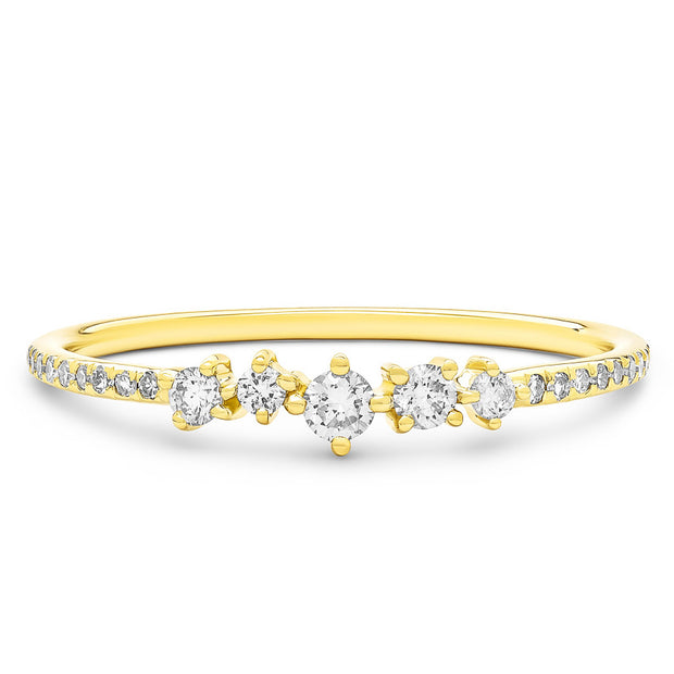 14K Solid Gold Cluster Diamond Pave Band